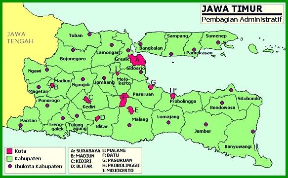 Peta Administratif Jawa Timur
