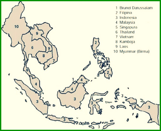 Peta Asia Tenggara Lengkap Dengan Nama Negara Dan Keterangannya