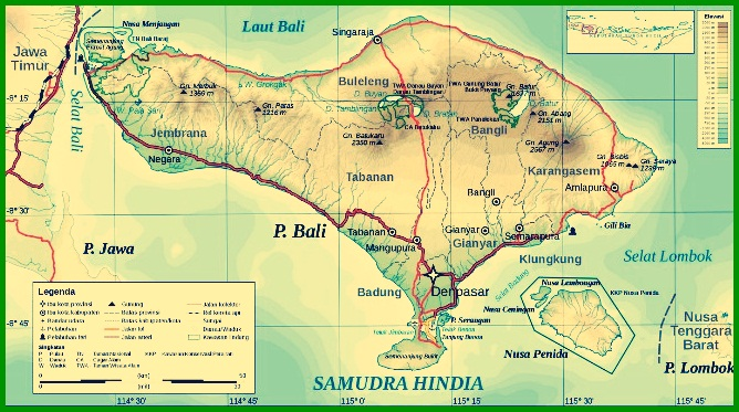 Peta Topografi Bali