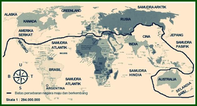 Peta Persebaran Negara Maju dan Berkembang