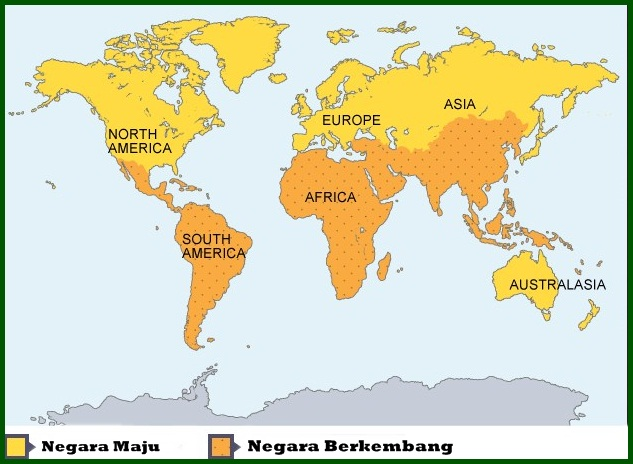 Peta Negara Maju dan Berkembang